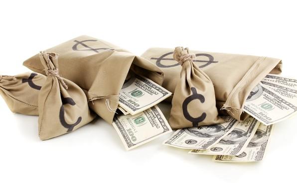 Картинка деньги, белый фон, доллары, мешки, валюта, купюры, банкноты