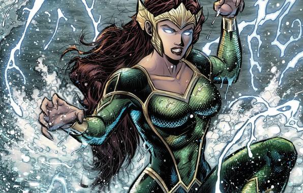 Картинка girl, fantasy, sea, crown, splashes, comics, redhead, artwork, suit, superhero, fantasy art, DC Comics, Aquaman, …