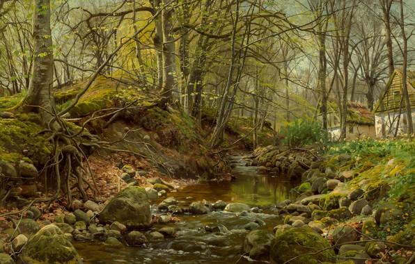 Картинка 1905, датский живописец, Лесной ручей, Петер Мёрк Мёнстед, Peder Mørk Mønsted, Danish realist painter, oil …