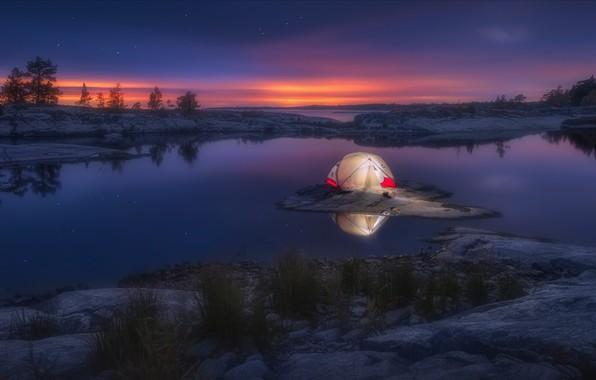 Картинка ночь, природа, озеро, камни, звёзды, палатка, заря, Ладожское озеро, Ладога, Александр Кукринов, Шхеры