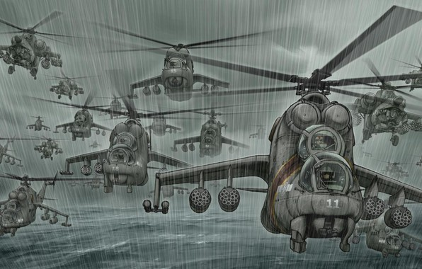 Картинка Море, Дождь, Вертолет, Арт, Много, ВВС, Ми-24, Вертолеты, Hind, Ливень, Ми-28, Ми 28, Лань, Ми28, ...
