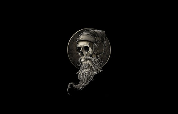 Картинка Минимализм, Череп, Наушники, Стиль, Фон, Fantasy, Борода, Арт, Art, Style, Skull, Фантастика, Headphones, Fiction, Скелет, …