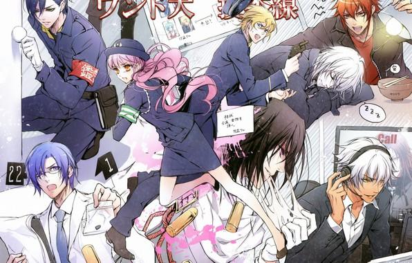 Картинка полиция, наушники, очки, повязка, парни, art, розовые волосы, wand of fortune, lulu, visual novel, Alvaro …