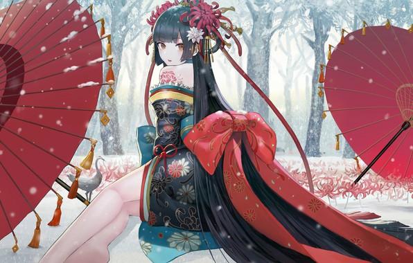 Картинка Girl, long hair, legs, trees, umbrella, anime, winter, snow, birds, digital art, artwork, environment, black …