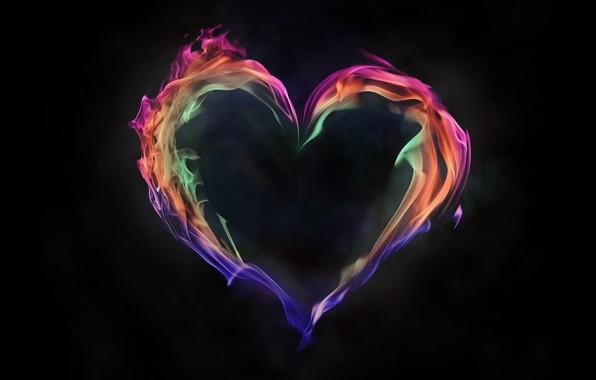 Картинка пламя, краски, сердце, дым, газ