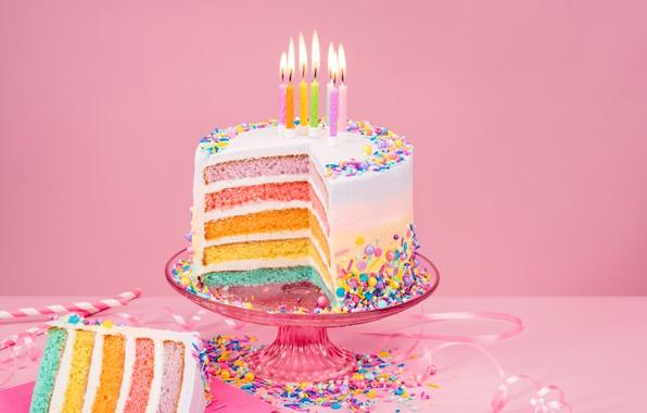 Картинка огни, фон, розовый, день рождения, праздник, сладость, свечи, конфеты, торт, ваза, ленточка