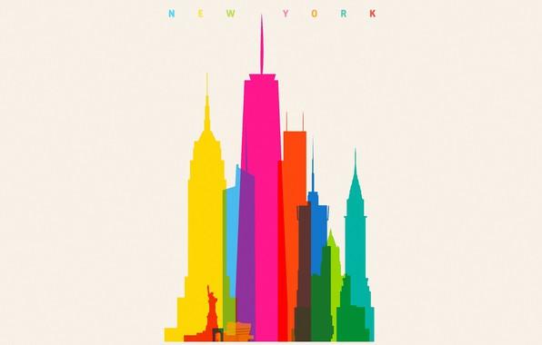 Картинка colorful, USA, minimalism, New York, Empire State Building, digital art, artwork, Statue of Liberty, skyscrapers, …