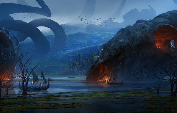 Картинка Vikings, Викинги, Raphael Lacoste, Логово дракона, Dragon's Lair