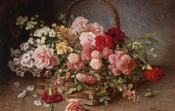 Картинка цветы, масло, натюрморт, корзинка, Hans Buchner, «A Basket of Roses and Carnations»