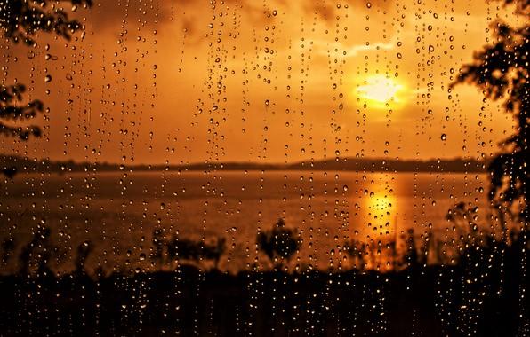 Картинка стекло, капли, закат, дождь