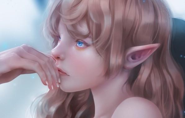 Картинка лицо, рука, эльфийка, голубые глаза, остроухая, elf girl, by Fenrigi Steve