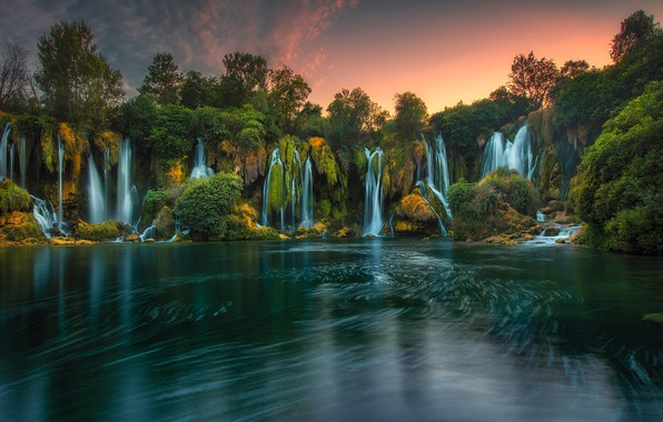 Картинка деревья, река, водопады, Босния и Герцеговина, Bosnia and Herzegovina, Водопад Кравица, Kravica Waterfalls, Trebižat River, …