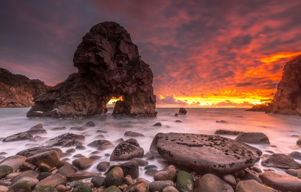 Картинка закат, природа, скала, океан, побережье