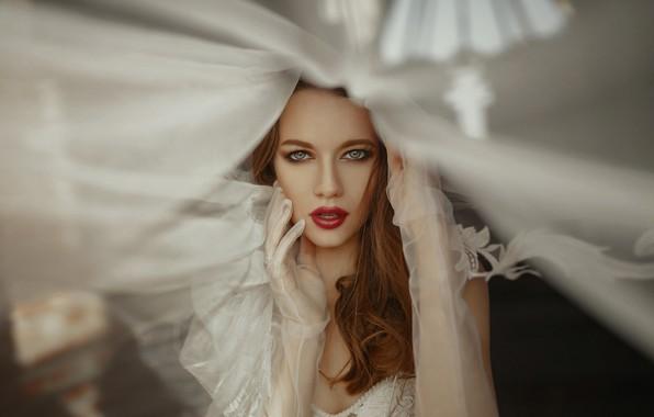 Картинка взгляд, девушка, лицо, стиль, макияж, перчатки, губки, Иван Ковалёв, Катерина Логинова