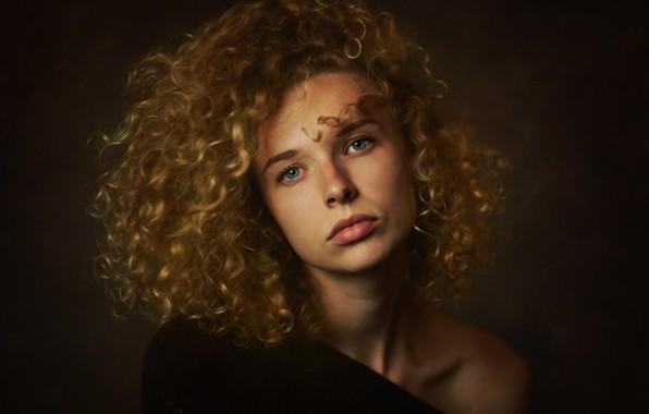Картинка девушка, портрет, блондинка, кудри, плечо, Zachar