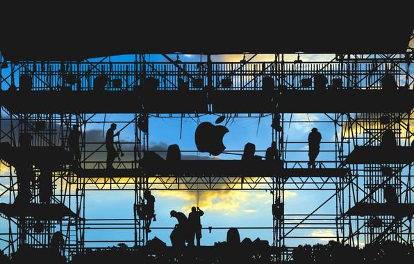 Картинка logo, men, silhouette, work, Apple Inc.