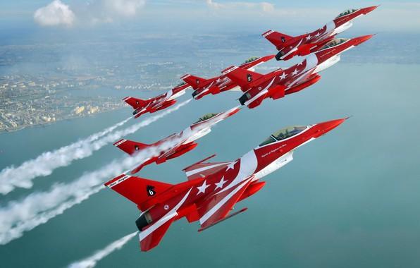 Картинка Истребитель, F-16, F-16C, Пилотажная группа, ВВС Сингапура, Чёрные Рыцари, F-16C Fighting Falcon, Black Knights