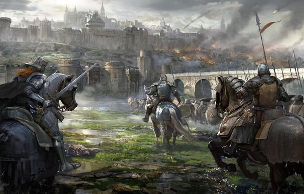 Картинка мост, оружие, Замок, воин, всадник, штурм, доспех, осада, рацарь