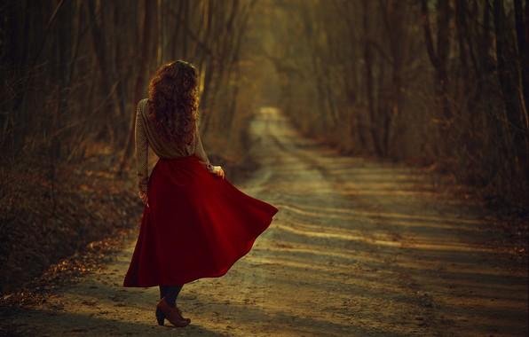 Картинка осень, девушка, волосы, юбка, блузка, Monica Lazar