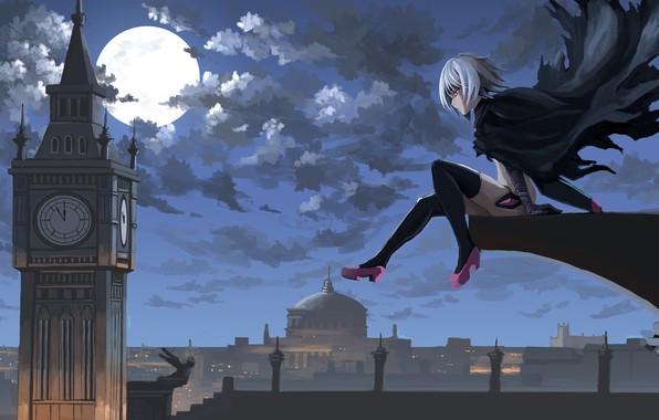 Картинка girl, moon, sky, anime, night, clouds, London, Big Ben, artwork, Jack the Ripper, cape, anime …