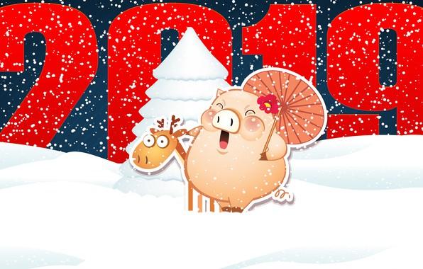 Картинка Минимализм, Свинья, Снег, Рождество, Зонтик, Олень, Снежинки, Фон, Новый год, Праздник, Арт, Christmas, Art, Настроение, …