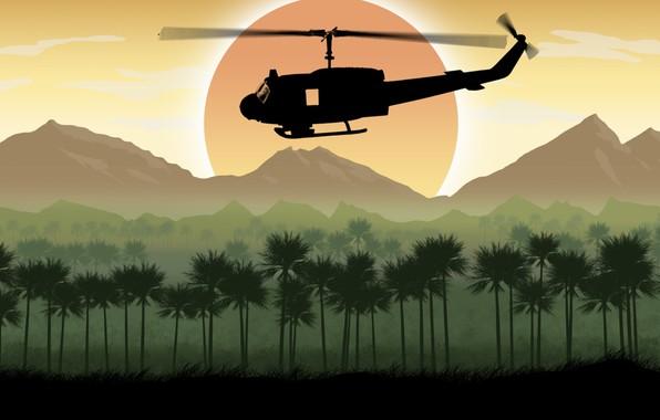 Картинка солнце, деревья, горы, арт, вертолет, UH-1 Huey