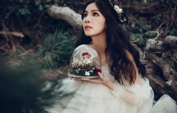 Картинка девушка, цветы, настроение, платье, азиатка