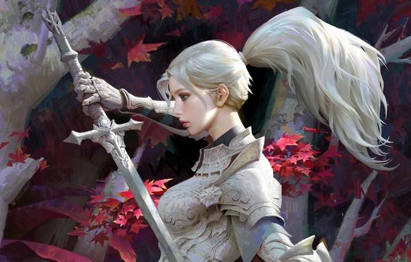 Картинка листья, девушка, деревья, оружие, меч, доспехи, фэнтези, арт, блондинка, хвост, профиль