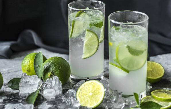 Картинка лёд, лайм, стаканы, напиток, мята