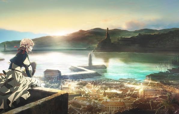 Картинка холмы, маяк, корабли, штиль, вид сверху, гавань, городские здания, панорама города, Violet Evergarden, by Akiko …