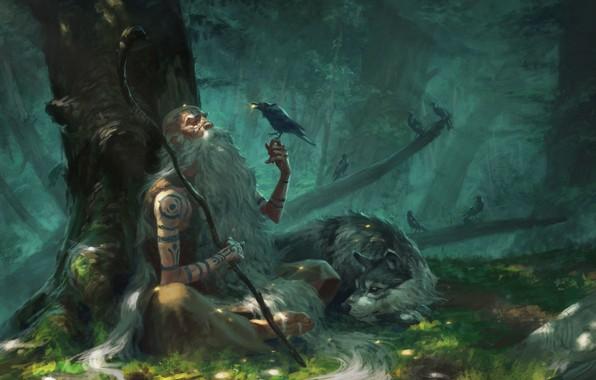 Картинка fantasy, forest, trees, birds, man, tattoo, animal, wolf, stick, Druid, artwork, fantasy art, illustration, crows, …