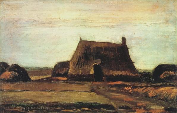 Картинка хижина, Винсент ван Гог, Farm with Stacks of Peat