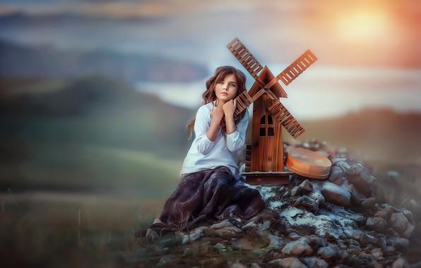 Картинка мечты, камни, мельница, девочка, ребёнок, мечтательница