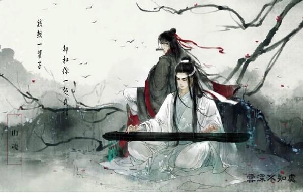 Картинка акварель, иероглифы, серый фон, музыкальный инструмент, красная лента, два парня, ветки деревьев, китайская одежда, Mo …
