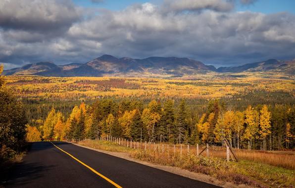 Картинка дорога, осень, Canada, Quebec, Notre-Dame-des-Monts