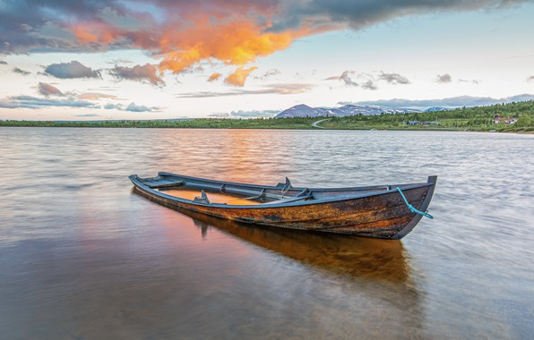 Картинка река, фон, лодка