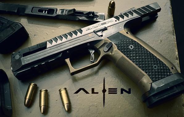 Картинка пистолет, оружие, pistol, weapon, Alien, render, Алиен, Лауго, Laugo