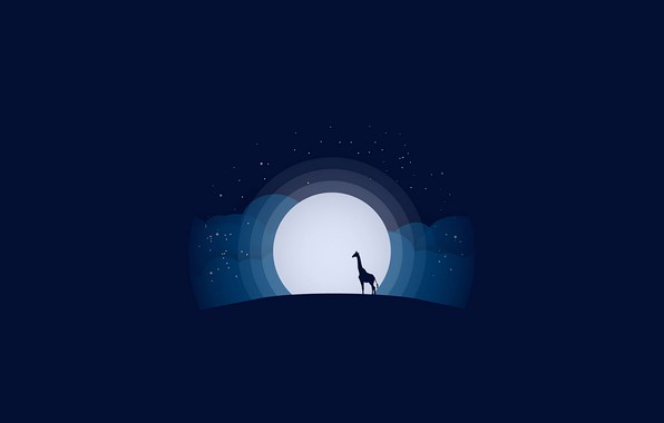 Картинка moon, minimalism, stars, animal, blue background, digital art, artwork, silhouette, wild, simple background, Giraffe