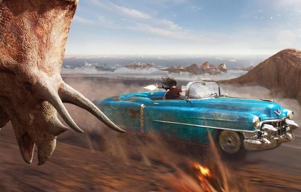 Картинка погоня, Greg Semkow, Cadillacs and Dinosaurs, кадиллак и динозавры