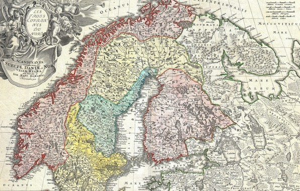 Картинка Дания, Норвегия, Швеция, Sweden, Финляндия, Norway, Finland, Скандинавия, Denmark, старые карты, Иоганн Баптист Гоманн, 1730, …