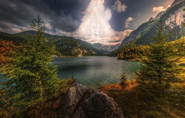 Картинка небо, горы, озеро, HDR, Австрия