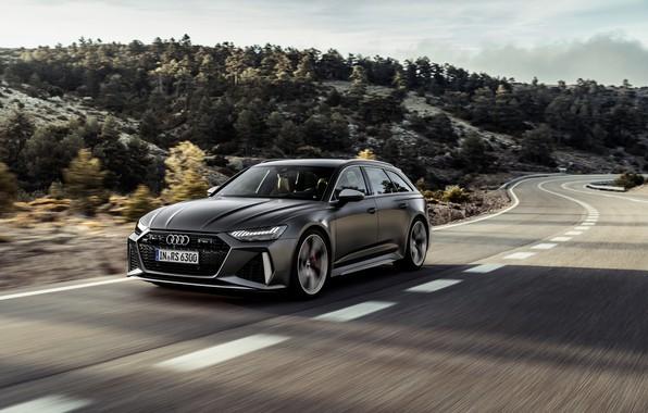 Картинка деревья, Audi, холмы, скорость, универсал, RS 6, 2020, 2019, тёмно-серый, V8 Twin-Turbo, RS6 Avant