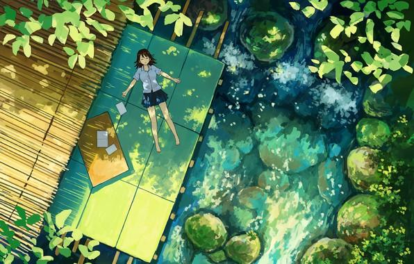 Картинка лето, растения, девочка, лежит, школьница, вид сверху, солнечный день, у пруда, камни в воде