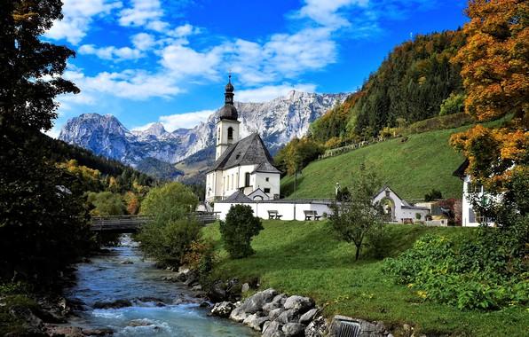 Картинка осень, небо, деревья, горы, мост, река, церковь, Ramsau