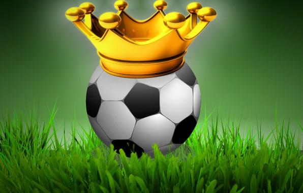Картинка поле, корона, футбольный мяч
