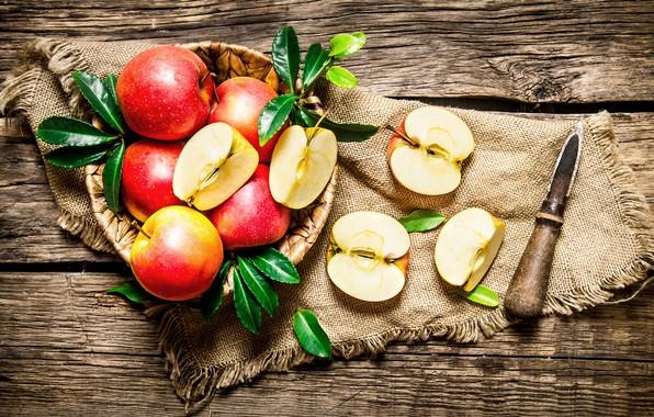 Картинка яблоки, доски, нож