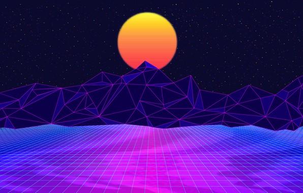 Картинка Солнце, Горы, Музыка, Космос, 80s, Neon, 80's, Synth, Retrowave, Synthwave, New Retro Wave, Futuresynth, Синтвейв, ...