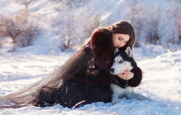 Картинка зима, девушка, снег, поза, собака, друзья, хаски, обнимашки, Юлия Тягушова, Катерина Приходько