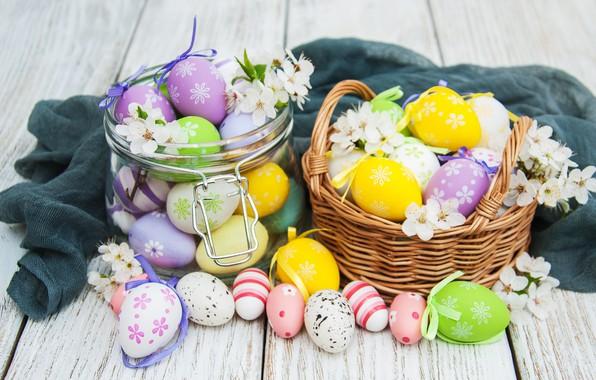 Картинка цветы, яйца, colorful, Пасха, happy, wood, pink, blossom, flowers, spring, Easter, eggs, decoration, basket