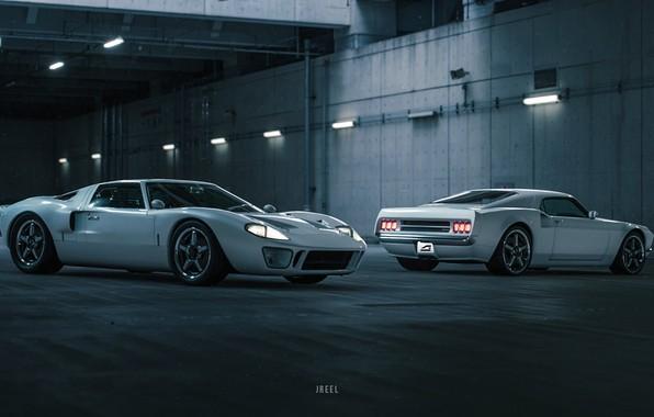 Картинка Ford, Авто, Игра, Белый, Машина, Две, Ford GT, Рендеринг, GT40, Transport & Vehicles, by JREEL, ...